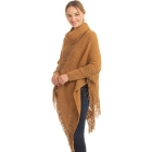 CP0545 Solid Color Luxe Sleeve Poncho, Camel
