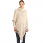 CP0545 Solid Color Luxe Sleeve Poncho, Ivory