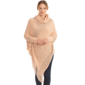 CP0545 Solid Color Luxe Sleeve Poncho, Pink