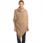 CP0545 Solid Color Luxe Sleeve Poncho, Taupe