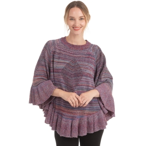 CP0552 Multi-color Knitted Ruffle Poncho, Purple