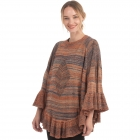 CP0552 Multi-color Knitted Ruffle Poncho, Rust