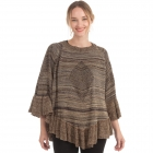 CP0552 Multi-color Knitted Ruffle Poncho, Tuape