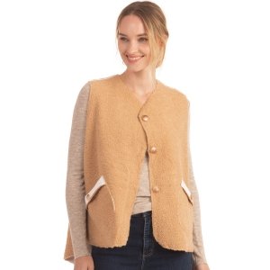 CP0553 Boucle Solid Color Vest With Pockets, Beige
