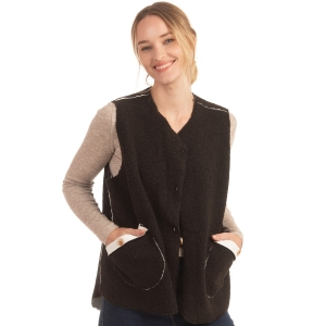 CP0553 Boucle Solid Color Vest With Pockets
