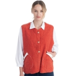 CP0553 Boucle Solid Color Vest With Pockets, Coral