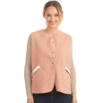 CP0553 Boucle Solid Color Vest With Pockets, Light Pink