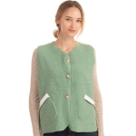 CP0553 Boucle Solid Color Vest With Pockets, Mint