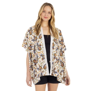 CP1205 Floral Pattern Summer Kimono, Ivory