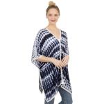 CP1209 Stripes Tie-dye Pattern Poncho, Blue