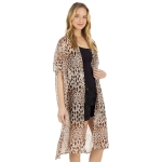 CP1210 Cheetah Pattern Sheer Poncho, Brown