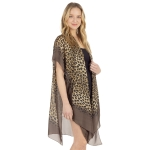 CP1231 Leopard Pattern Sheer Poncho, Brown