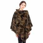 CP1602 Camouflage Pattern Turtleneck Furry Poncho