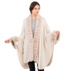 CP1605 Solid Color Faux Fur Trimmed  Sleeve & Collar Edge Shawl, Beige