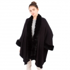 CP1605 Solid Color Faux Fur Trimmed  Sleeve & Collar Edge Shawl, Black