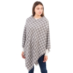 CP1608 Checkerboard pattern Soft Texture Poncho, Grey