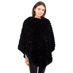 CP1614 Solid Color Faux Fur Stripes Poncho, Black