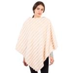CP1614 Solid Color Faux Fur Stripes Poncho, Beige