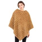 CP1614 Solid Color Faux Fur Stripes Poncho, Camel