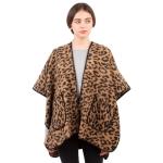 CP1632 Cheetah Pattern Winter Cape, Camel