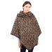 CP1633 Leopard Pattern Turtleneck & Coconut Button Poncho, Brown
