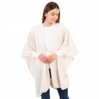CP1634 Solid Color Boucle Poncho, Ivory
