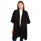 CP1634 Solid Color Boucle Poncho, Black