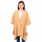 CP1634 Solid Color Boucle Poncho, Camel