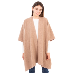 CP1634 Solid Color Boucle Poncho, Taupe