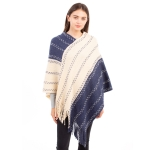 CP1636 Two-tone Color Stitch Pattern Poncho, Navy