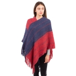 CP1636 Two-tone Color Stitch Pattern Poncho, Red