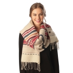 CP6202 MIXED STRIPED PONCHO WITH BUTTONS
