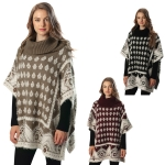 CP6208 Mixed Pattern Turtleneck Poncho