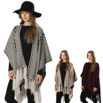 CP6212 STRIPED PONCHO WITH LONG TASSELS