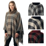 CP6213 Check Patterned Turtleneck Poncho