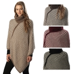 CP6214 STRIPED TURTLENECK PONCHO