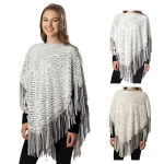 CP6215 FAUX FUR PONCHO WITH SUEDE FRINGES