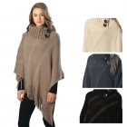 CP6220 Fringed Turtleneck Poncho with Buttons