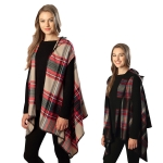 CP6222 Plaid Hooded Poncho