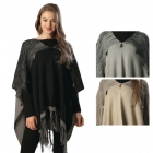 CP6224 Fringed Poncho with Tassels