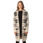 CP6234 CHECK FUZZY LONG SWEATER CARDIGAN