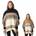 CP6236 Sweater Turtleneck Poncho with Fringe