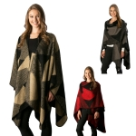 CP6241 Mixed Pattern Color Block Cape/Poncho