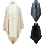 CP6243 Faux-fur Trimmed Poncho