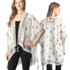 CP7404 Mixed Patterned Cape Poncho