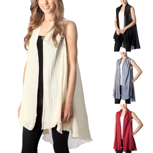 CP7407 Ruffled Edge Solid Vest