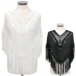 CP7410 CROCHET CROPPED PONCHO W/FRINGE