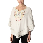 CP7413 Flower Embroidered Poncho with Fringe