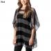 CP7416 Stripe Pattern Mesh Poncho