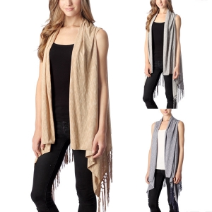 CP7417 Solid Vest with Tassel
